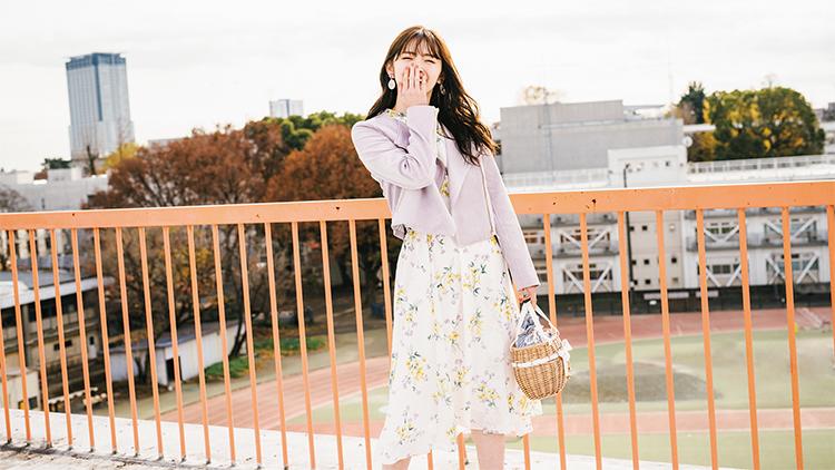 【明日のコーデ】誰よりも春らしく♡ライダース×花柄ワンピコーデ